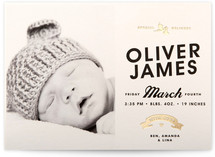 Vintage Label Foil-Pressed Birth Announcement Cards