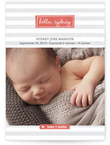 Striped Hello Birth Announcement Postcards