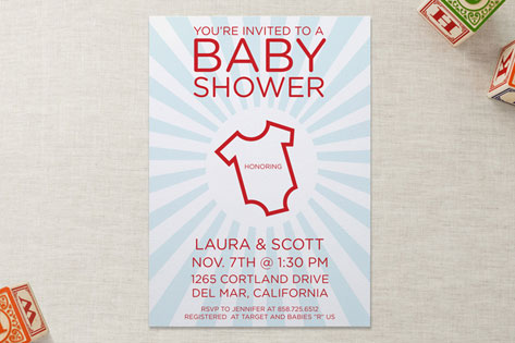 onesie baby shower invitations by marabou design minted