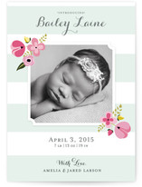 Mint Flower Birth Announcements