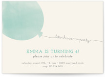 Simple Balloon Children's Birthday Party Invitations