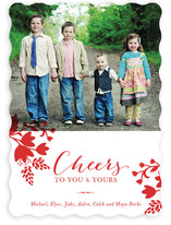 Cheerful Floral Holiday Photo Cards