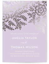 Leaves and Kraft Foil-Pressed Wedding Invitations