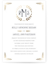Glittered Monogram Foil-Pressed Wedding Invitations