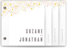 Modern Dotted Blooms in White Wedding Invitation Minibook™ Cards