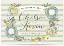 Striped Florals Save the Date Postcards
